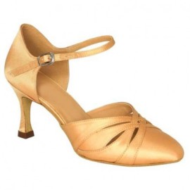 Danielle - Tan Satin Ballroom Dance Shoe