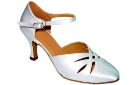 Danielle - White Satin Ballroom Dance Shoe