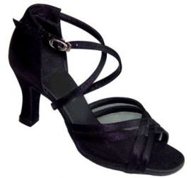 Heather - Black Satin with Black Mesh - WIDE - Latin or Ballroom Dance Shoe