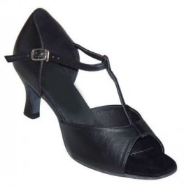 Jane - Black Leather - T-Strap Latin or Ballroom Dance Shoe