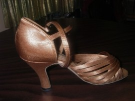 Jodi II - Dark Tan Satin - Latin or Ballroom Dance Shoe