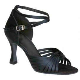 Jodi - Black Satin - NARROW - Latin or Ballroom Dance Shoe