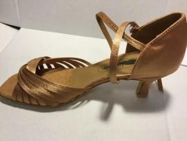 Jodi II - Dark Tan Satin - WIDE - Latin or Ballroom Dance Shoe