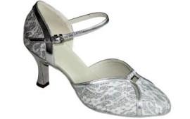 Mary-Silver Lace Ballroom Dance Shoe