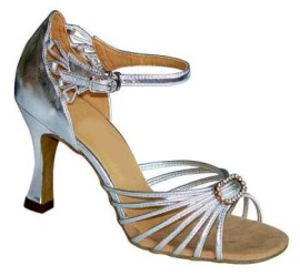 Monique - WIDE - Silver Latin or Ballroom Dance Shoe