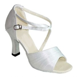 Rachel White Satin-Latin or Ballroom Dance Shoe