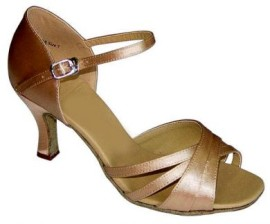 Sara - Tan Satin Latin or Ballroom Dance Shoe