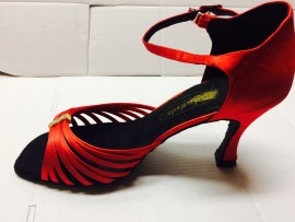Tara Red Latin or Ballroom Dance  shoe