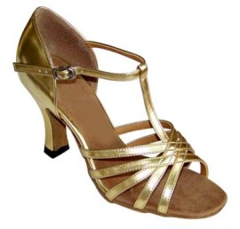 Tiffany - Gold - WIDE - T-Strap Latin or Ballroom Dance Shoe