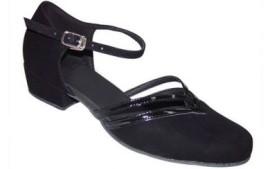 Beth - Black Nubuck Patent Leather Trim - Ballroom Dance Shoe
