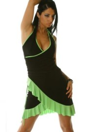 Black/Green Ruffled Halter Dress