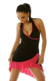 Black/Pink Ruffled Halter Dress