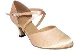 Carol-Light Tan Satin - Ballroom Dance Shoe