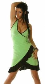 Green/Black Ruffled Halter Dress