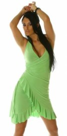 Green Ruffled Halter Dress