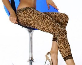 Leopard Leggings with Lace Trim