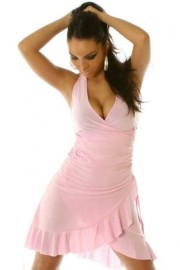 Pink (Light) Ruffled Halter Dress