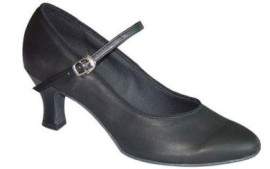 Megan - Black Leather - Ballroom Dance Shoe