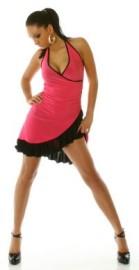 Pink/Black Ruffled Halter Dress