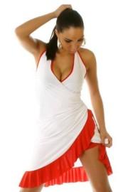 White & Red Ruffled Halter Dress