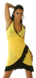 Yellow/Black Ruffled Halter Dress
