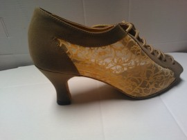 Bici - Tan with Nude Mesh with Flowering Design - Latin or Ballroom Dance Shoe