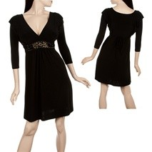 Black Longsleeve Dress with Jeweled Waist