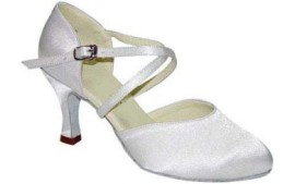 "Carol White Satin 2.2"" Heel Ballroom Dance Shoe"