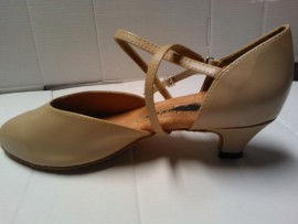 Carol Beige Leather-Ballroom Dancing Shoe