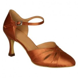 Danielle - Dark Tan Satin Ballroom Dance Shoe