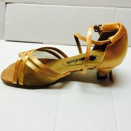 Heather Tan Satin Low Heel-Latin or Ballroom Dance Shoe