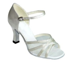 Irena-White Satin and Mesh-Latin or Ballroom Dance Shoe