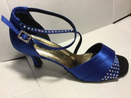 Jackie Blue Satin Latin or Ballroom Dance Shoe