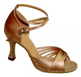 Jodi - NARROW - Tan Satin - Latin or Ballroom Dance Shoe
