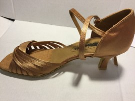 Jodi II - WIDE - Dark Tan Satin - Latin or Ballroom Dance Shoe