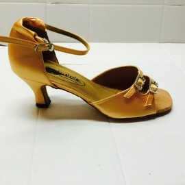 Julia NARROW Tan Satin Latin or Ballroom Dance Shoe
