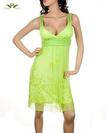 Green Lace Layered Smooth Dress