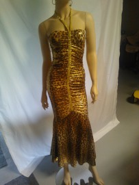 Long Leopard Dress with Detail