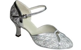 Mary-Silver Lace Ballroom Dance Shoe