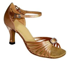 Monique - Tan Satin Latin or Ballroom Dance Shoe