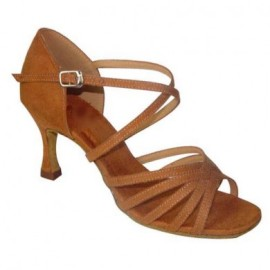 Reba - NARROW - Tan Nubuck - Latin or Ballroom Dance Shoe