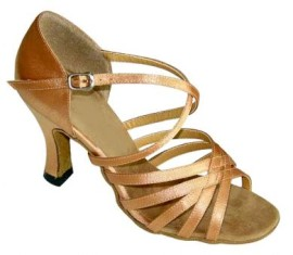 Robin - Tan Satin Latin or Ballroom Dance Shoe
