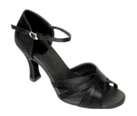 Sara - Black Satin - Latin or Ballroom Dance Shoe