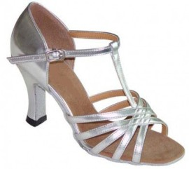 Tiffany - Silver - WIDE - T-Strap Latin or Ballroom Dance Shoe