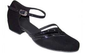 Beth - Black Nubuck Patent Leather Trim - Ballroom Dance Shoe