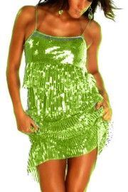 Green Sequin Layered Dress