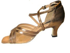 Heather - Bronze with Mesh - Latin or Ballroom Dance Shoe