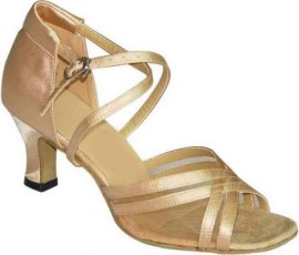 Heather - Tan Satin with Mesh - DOUBLE NARROW - Latin or Ballroom Dance Shoe