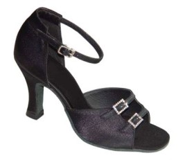 Julia - NARROW - Black Satin - Latin or Ballroom Dance Shoe