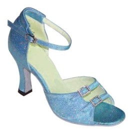Julia - NARROW - Blue Satin - Latin or Ballroom Dance Shoe